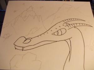 De draak met de achtergrond die ik in gedachten had :)